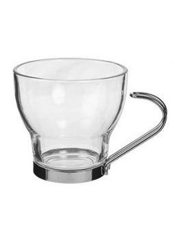 Taza cristal cafe con leche asa metal 220 ml