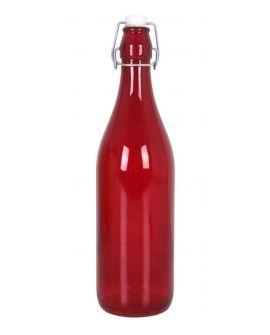 Botella Cristal Color 1L Lella con tapón rojo